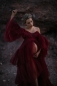 Preview: Maternity gown for Photoshoot or Babyshower Swan in Wine Red