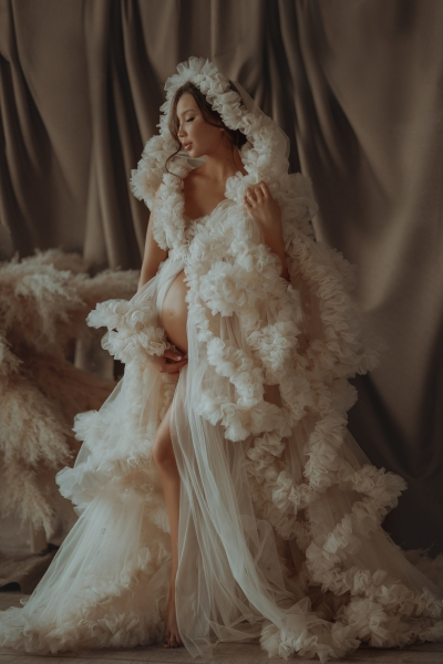 COCO in IVORY Maternity gown for Photoshoot