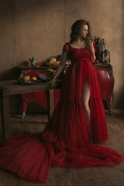 ELSA in RED Maternity or non maternity gown for Photoshoot