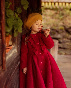 Little Red Riding Hood Vintage wool girl coat